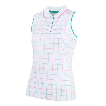 Fila Windowpane Sleeveless Polo - White Windowpane/Atlantis/Miami Pink