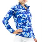 Ibkul Camo Long Sleeve Mock Top Womens Camo Navy/Royal 10401 CNR