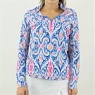 Ibkul Doreen Long Sleeve 1/4 Zip Mock Top Womens Periwinkle/Light Coral 10402 PLC