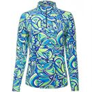 Ibkul Jackie Long Sleeve Zip Mock Top Womens Navy/Green 10403 NGN