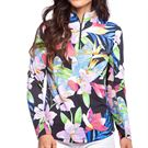 IBKUL Long Sleeve Zip Mock Top Womens Black/Multi 10515 BKMLû