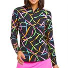 Ibkul Gifted Long Sleeve Mock Top Womens Black Multi 10751 BKM