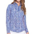 IBKUL Long Sleeve Zip Mock Top Womens Denim 10855 DEN