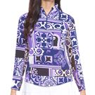 IBKUL Long Sleeve Zip Mock Top Womens Purple/Lavender 10859 PLV