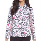 IBKUL Long Sleeve Zip Mock Top Womens Luvya Black/Watermelon 10860 LBW