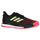 adidas Sole Court Boost Mens Tennis Shoe - Core Black/Hi Res Yellow/Shock Red