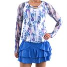 Lucky in Love Floral Fantasy Bloom Mesh Overlay Long Sleeve - White