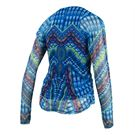 Lucky in Love Boho Sense Long Sleeve Mesh Overlay Top - Paradise Blue