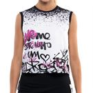 Lucky in Love City Graffiti All City Hi/Low Tank Womens Passion Pink/Black/White CT743 E11689