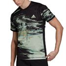 adidas NY Printed Tee Shirt Mens Black/Glow Green/Flash Orange DX4322