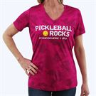 Pickleball Rocks Everywhere I Go V Neck Tee - Pink Raspberry Camo Print