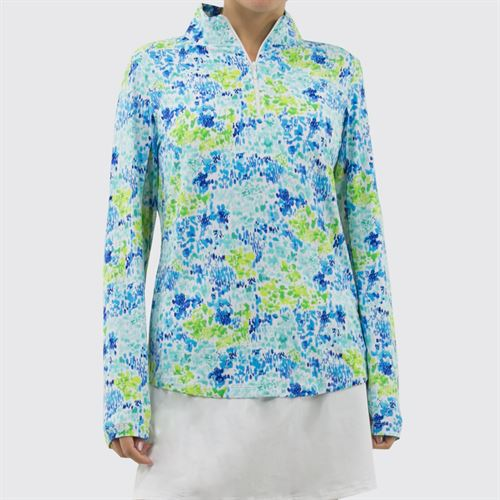 IBKUL Long Sleeve Mock 1/4 Zip Top Womens Blue/Lime 10285