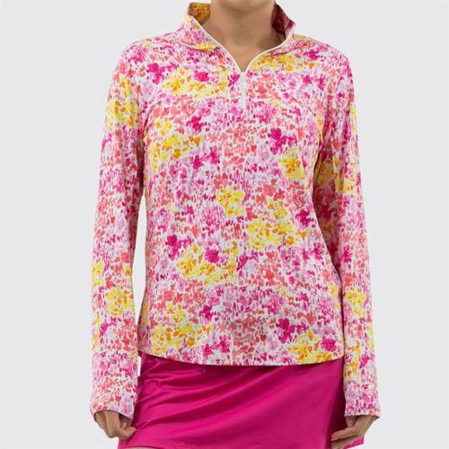 IBKUL Long Sleeve Mock 1/4 Zip Top Womens Pink/Yellow 10285