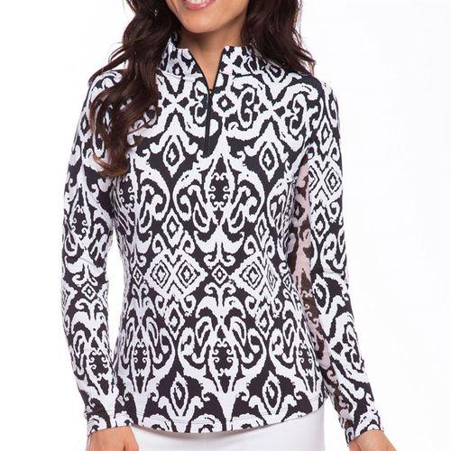 Ibkul Doreen Long Sleeve Zip Mock Top Womens Black/White 10402 BKW