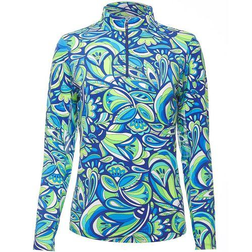 Ibkul Jackie Long Sleeve Zip Mock Top Womens Navy/Green 10403 NGN