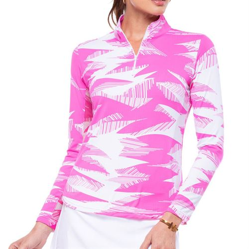 Ibkul Stormi Long Sleeve Zip Mock Top Womens Pink/White 10407 PKW