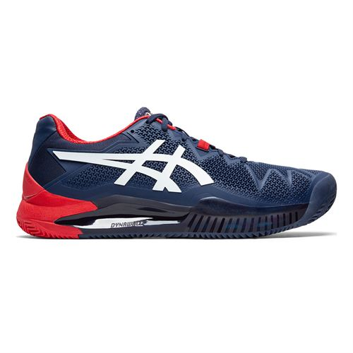 Asics Gel Resolution 8 Clay Mens Tennis Shoe Peacoat/White 1041A076 400