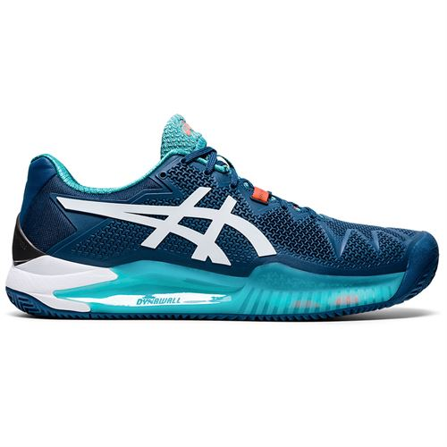 Asics Gel Resolution 8 Clay Mens Tennis Shoe Mako Blue/White 1041A076 401