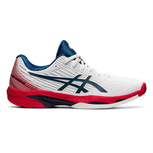 Asics Solution Speed FF 2 Mens Tennis Shoe White/Mako Blue 1041A182 101