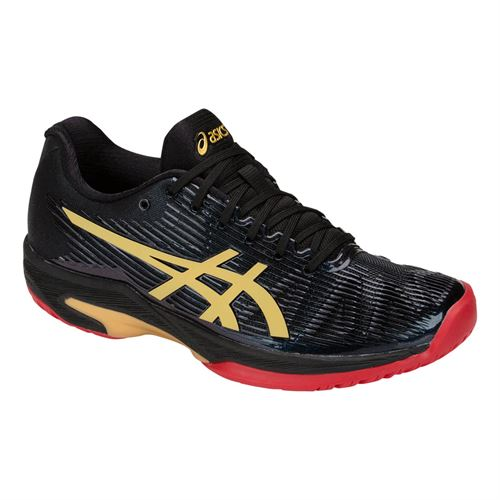 Asics Solution Speed FF LE Womens Tennis Shoe - Black/Gold