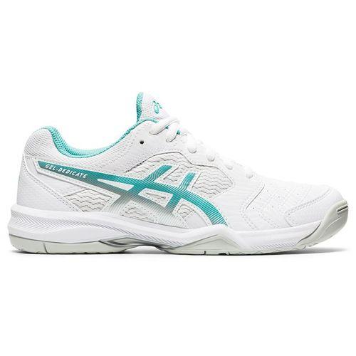 Asics Gel Dedicate 6 Womens Tennis Shoe White/Techno Cyan 1042A067 105