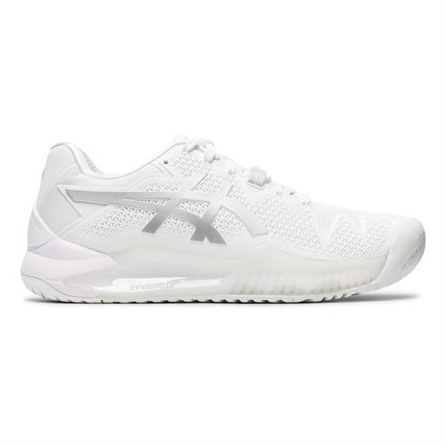 Asics Gel Resolution 8 Womens Tennis Shoe White/Pure Silver 1042A072 100