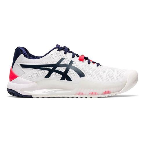 Asics Gel Resolution 8 Wide Womens Tennis Shoe White/Peacoat 1042A097 103