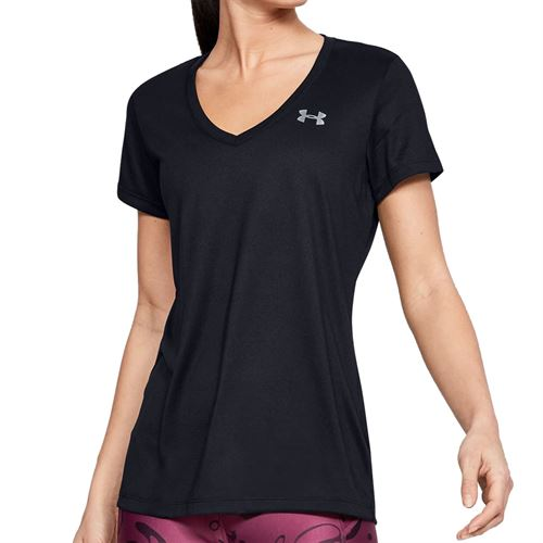 Under Armour Tech V Neck Top Womens Black/Metallic Silver
