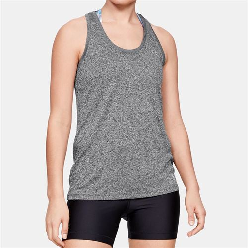 Under Armour Tech Tank Womens Carbon Heather/Metallic Silver 1275045 090