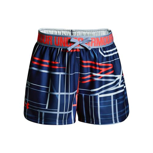 Under Armour Girls Printed Play Up Short - Formation Blue/Neon Coral