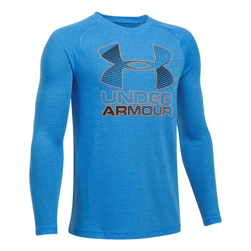 Under Armour Boys Hybrid Big Logo Long Sleeve Tee - Mako Blue