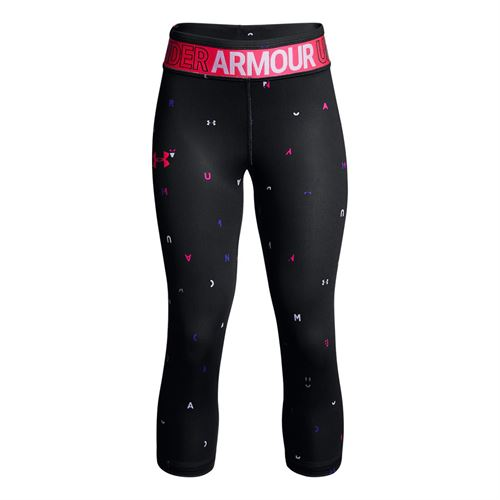 Under Armour Girls Heatgear Capri - Black/Penta Pink