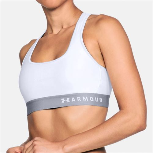 Under Armour Womens Mid Crossback Bra - White/Steel