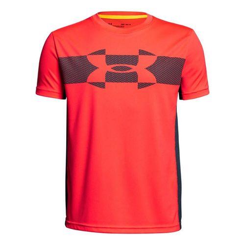 Under Armour Boys Tech Tee - Neon Coral/Stealth Gray