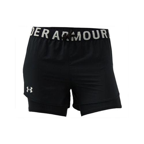 Under Armour Girls Heat Gear 2in1 Short Black/Metallic Silver 1351695 002