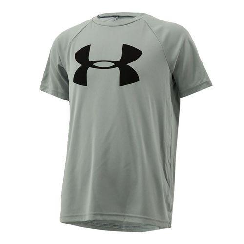 Under Armour Boys Tech Big Logo Shirt - Mod Gray Light Heather/Black
