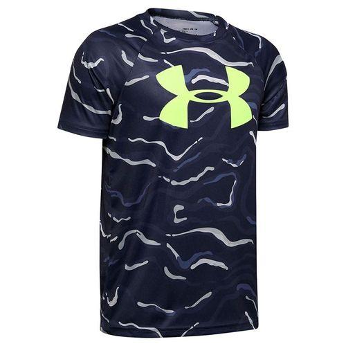 Under Armour Boys Tech Big Logo Printed Tee Shirt Blue Ink/X Ray 1351851 497