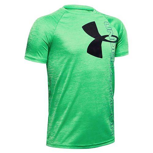 Under Armour Boys Tech Split Logo Hybrid Tee Shirt Vapor Green/Black 1354001
