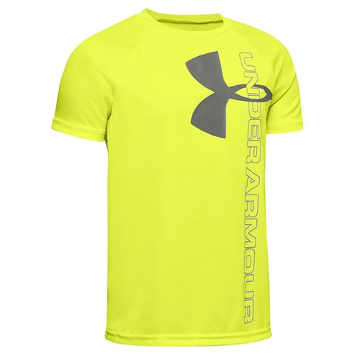 Under Armour Boys Tech Split Logo Hybrid Tee Shirt X Ray/Gravity Green 1354001 786