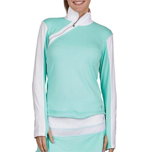 Sofibella Love At First Serve Long Sleeve Side Zip Shirt Womens Sea Breeze Pique/White 1943 SEB