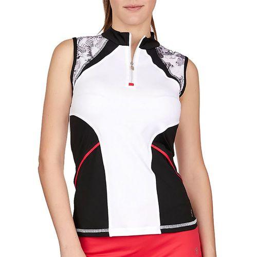 Sofibella Match Point Sleeveless Top Womens White/Black/Vintage Floral 1962 WHT