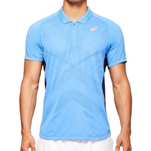 Asics Elite Tennis Polo Shirt Mens Blue Coast 2041A078 400