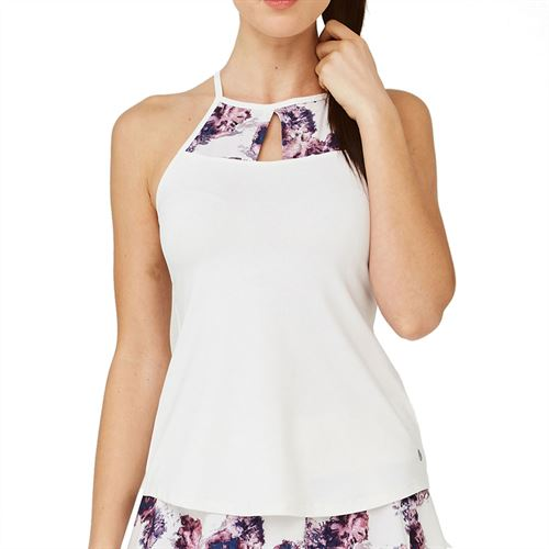 Lija Elite Cut Out Tank Womens White/White Flowers 20S 1630T1