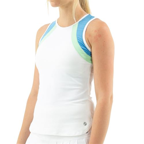 Lija Go With The Flow Bea Tank Womens White/Surf Blue/Pistachio 20S 1664T4