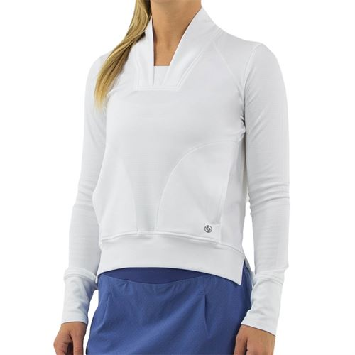 Lija Winning Streak Plunge Pullover Top Womens White 20S 1672T2