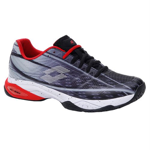 Lotto Mirage 300 Speed Mens Tennis Shoe All Black/All White/Red Poppy 210734 6VG
