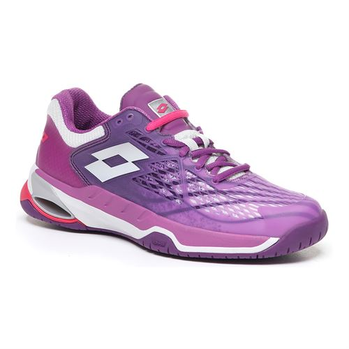 Lotto Mirage 100 Speed Womens Tennis Shoe - Purple Willow/All White/Funky Pink