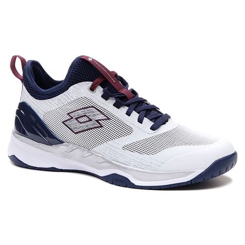 Lotto Mirage 200 Speed Mens Tennis Shoe All White/Navy Blue/Mauve Wine 213627 6VF