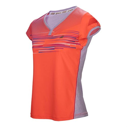 Babolat Perf Cap Sleeve Top - Fluo Red
