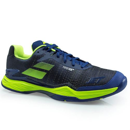 Babolat Jet Mach 2 Mens Tennis Shoe (RUNS SMALL - SIZE UP 1/2 SIZE) - Estate Blue/ Fluo Yellow